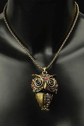 """Aus der Kategorie Halsketten  gibt es, zum Preis von EUR 8,90  Lieferumfang: Eine Halskette """"Eule"""" in altgold mit bunten Steinen."""