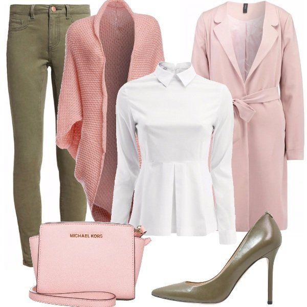 Un+look+dai+colori+pastello,+ricco+di+femminilità:+pantalone+skinny+verde+militare+con+camicia+bianca+stretta+in+vita.+Ai+piedi+décolleté+verde+in+pelle+e+sopra+un+cardigan+in+maglia+rosa,+lungo+quasi+fino+alle+ginocchia.+Per+uscire,+un+cappotto+in+lana+rosa+chiaro+con+borsa+tracolla+Michael+Kors+dello+stesso+colore.