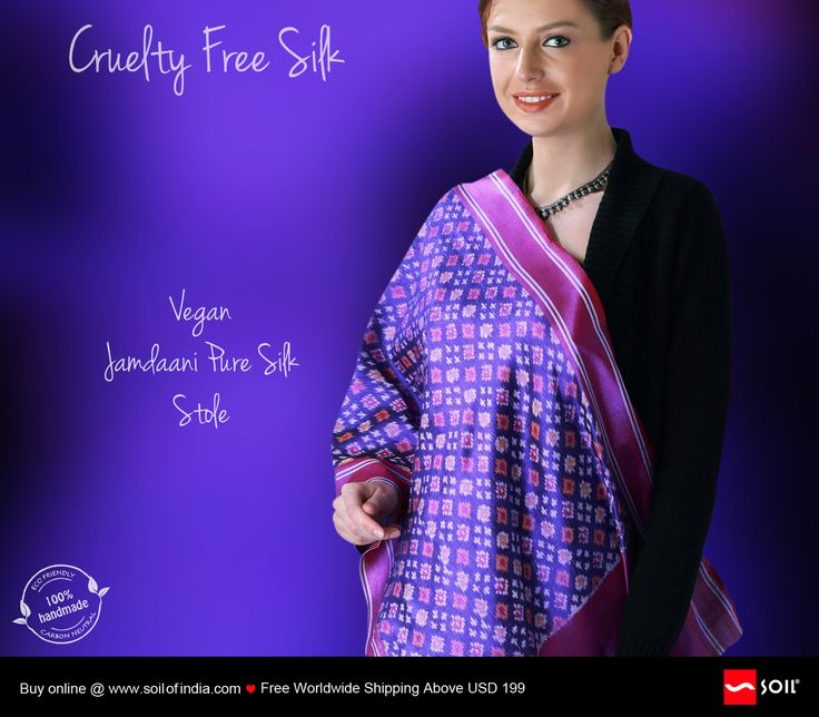#soilofindia Cruelty Free Silk, #Jamdaani #Stole Caring for our world and concern for defenceless tiny worms, master #craftsmen ingeniously retrieve this awesome #silk after allowing the worms to mature.  Far too rare, far too special for everyone to own, just enough for everyone else to admire.  http://soilofindia.com/our-products/haute-couture/ahimsa-silk-fabrics-of-non-violence/non-violent-silk-jamdaani-stole.html