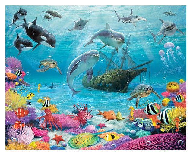 #Fotobehang of  Decoratie stickers. #kinderkamer behang vissen #dolfijn haai Diep in de zee onderwater fotobehang, posterbehang van Walltastic.