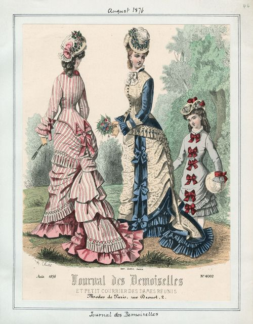 A fashion plate from 1876 that shows three immensely pretty bow bedecked daywear dresses.