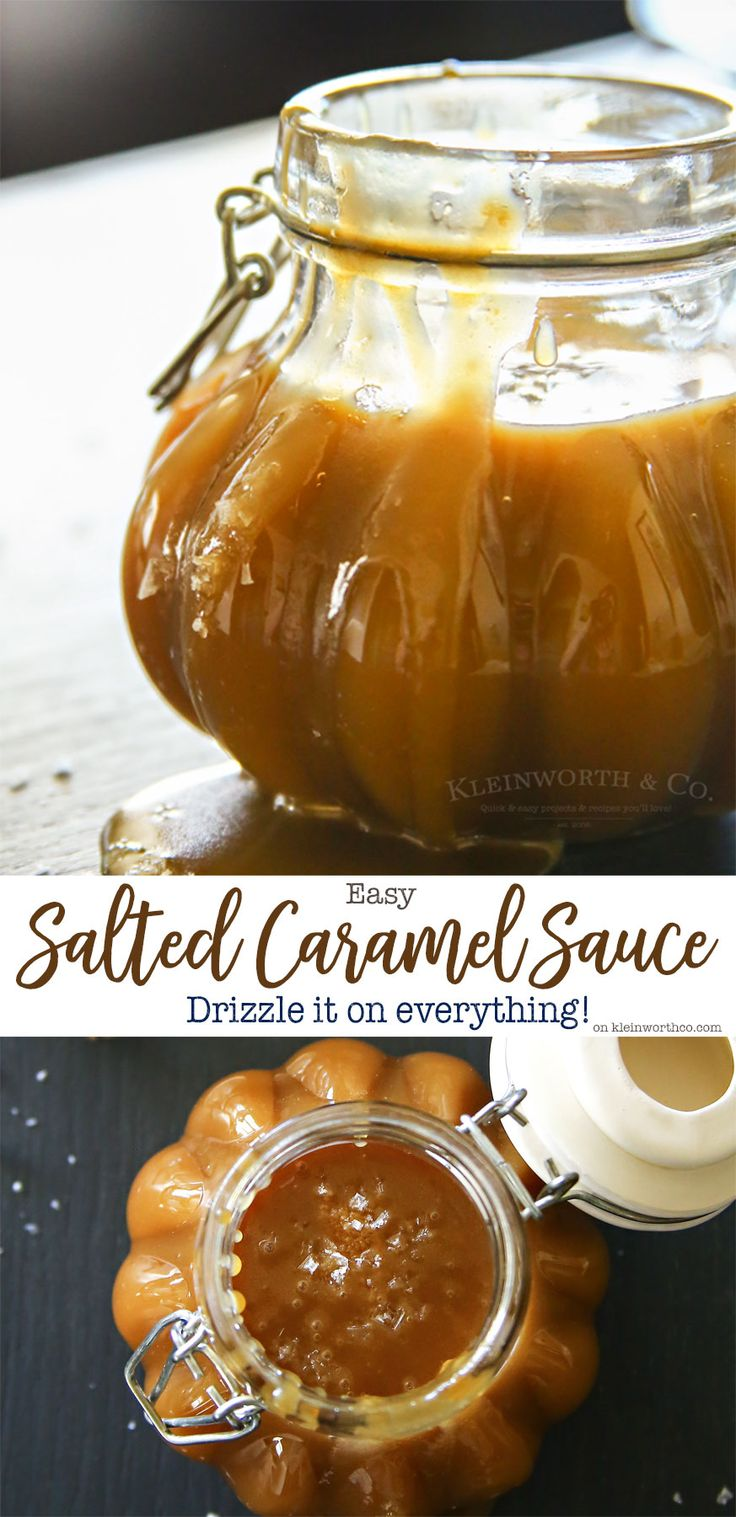 Easy Salted Caramel Sauce is simple to make & absolutely delicious when added to any fall treat. If the salty sweet combo is your favorite, you'll love this. via @KleinworthCo #UnleashClean #ad @vivatowels