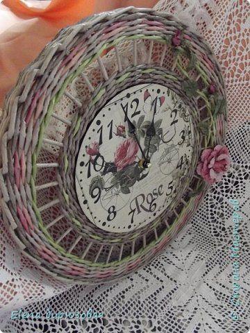Декор предметов Интерьер Плетение Тик-так часики   Бумага газетная Трубочки бумажные фото 3