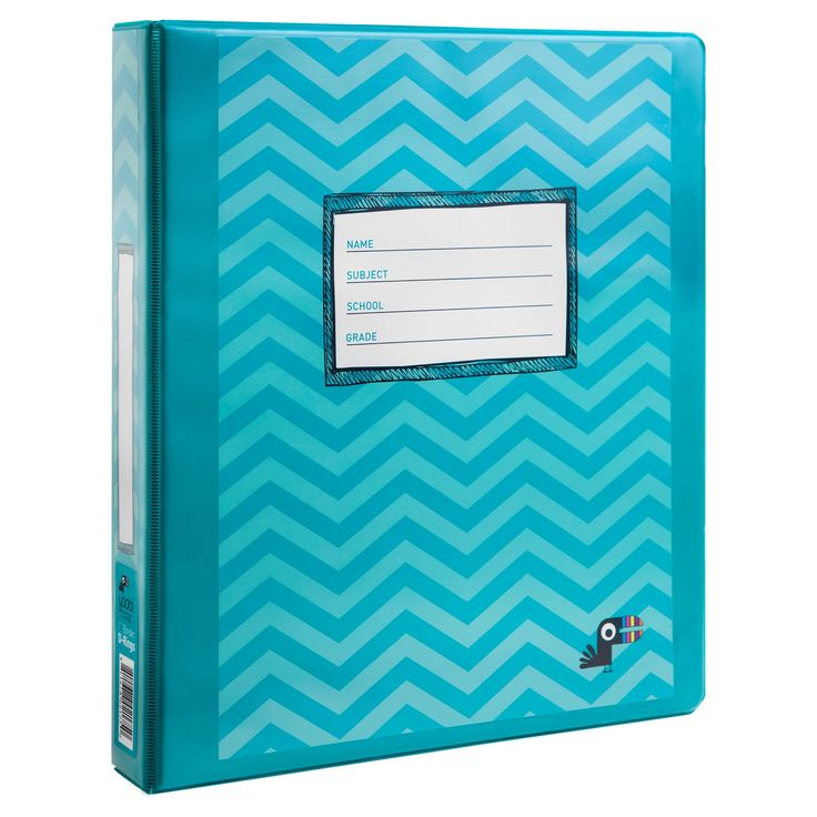 Yoobi Binder, 1 in. - Aqua Chevron