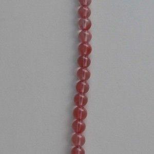 Cuarzo rosa, Bola 6mm, tira de 20 cm.  (PVP 1,28 € + IVA)