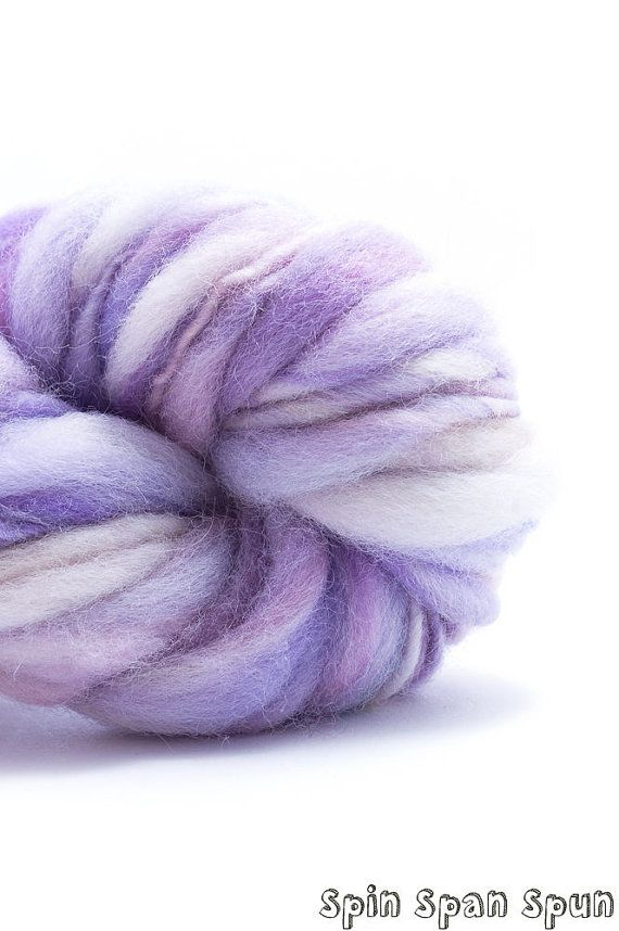 Violets in the Snow Thick and Thin Bulky Yarn by SpinSpanSpun, $37.00