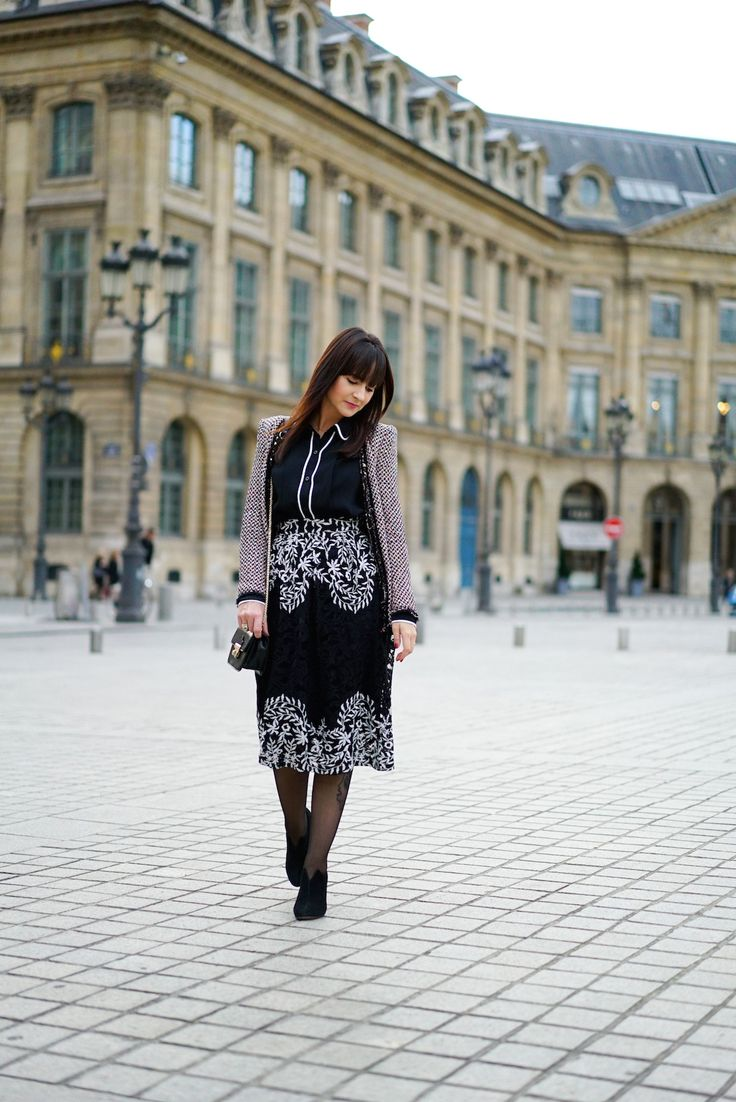 Saia Midi Bordada em Paris | Danielle Noce