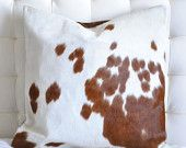 Brown and White Nguni Cowhide Pillow Cover and Down/Feather Insert by Herdboi