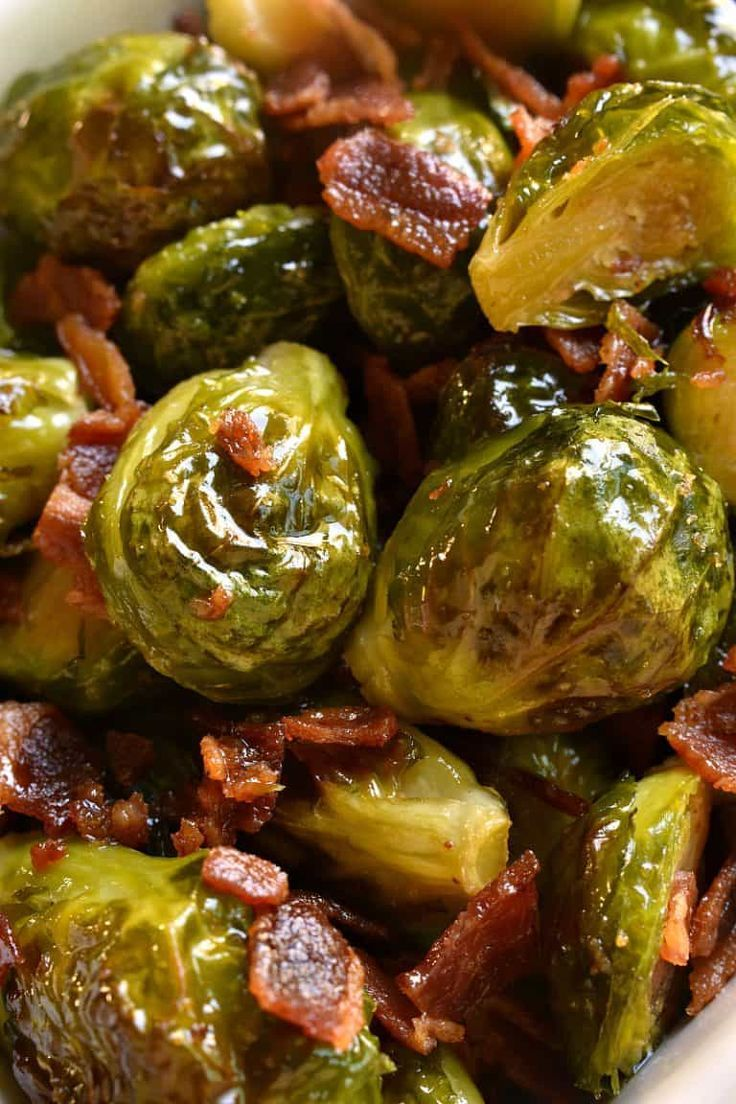 These Maple Bacon Roasted Brussels Sprouts are the ultimate side dish! Fresh bru…   – fall recipe