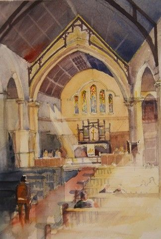 St Thomas Anglican Church , Musgrave Rd, interior   www.facebook.com/peter croxon artist  Watercolour