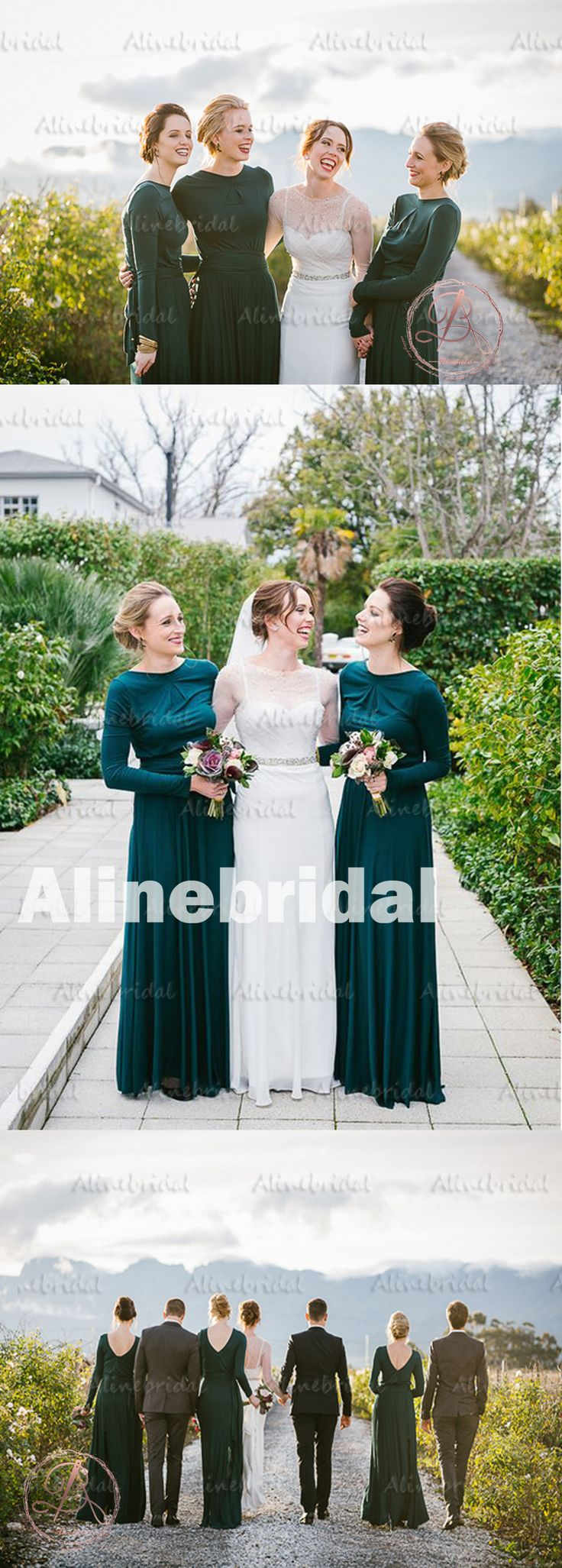 fall bridal party pictures%0A      Winter Hot Sale Green Jersey Long Sleeve Round Neck Modest Long  Bridesmaid Dress  AB