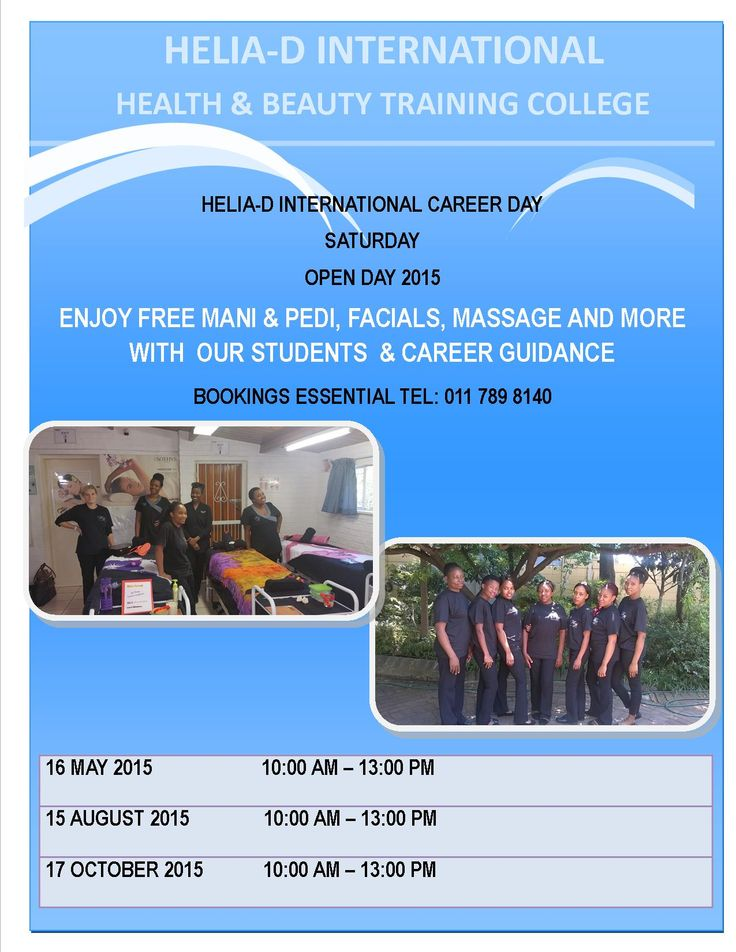 Helia-D International College Open Day details for you to join us for FREE treatments with our students on the 16th May 10am-1pm. Melinda , the principal will advise on beauty therapy courses and training programmes offered at the Helia-D International campuses. Bookings are essential to book your treatment time with our students Tel: 0117898140