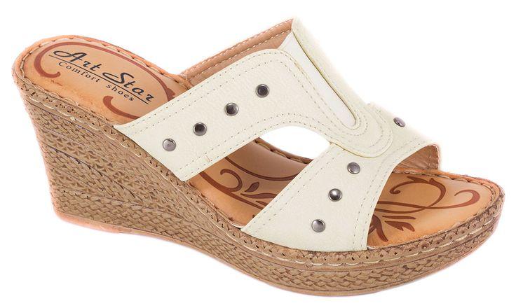 Papuci bej cu talpa ortopedica 60109-A9B. Reducere 40%.