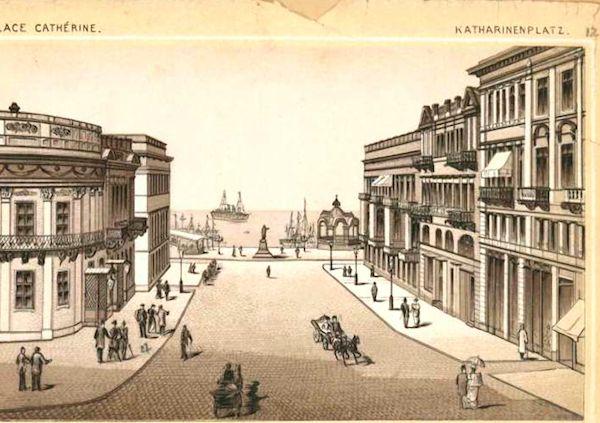 Katherininskaya street leading to the duc de Richelieu statue & Odessa's harbor