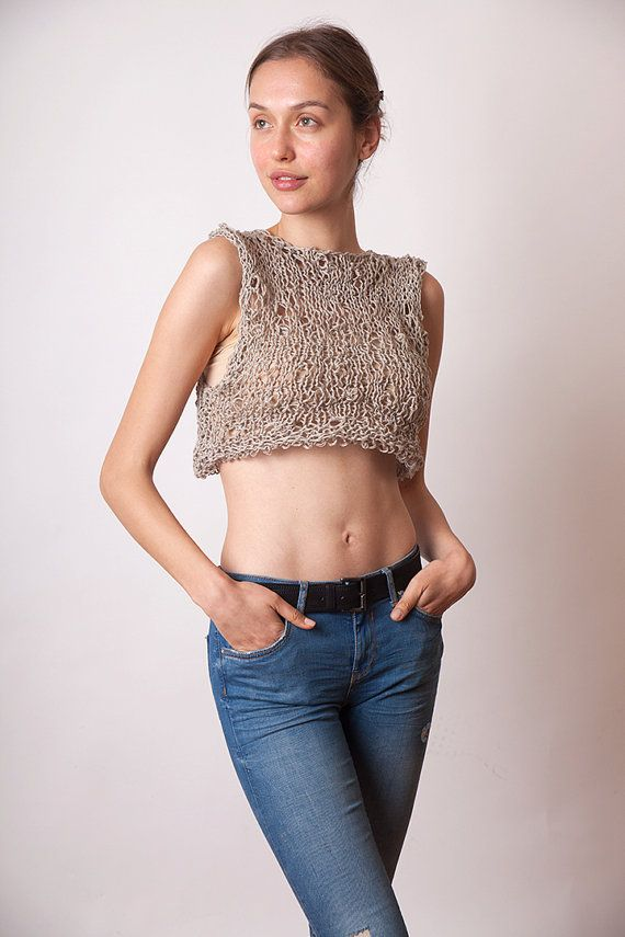 Check out this item in my Etsy shop https://www.etsy.com/listing/270797711/crop-tank-linen-cotton-knit-sexy-summer