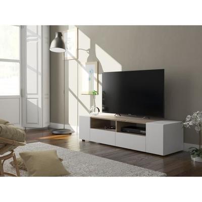 TAMIKO Meuble TV contemporain blanc et décor chêne - L 138 cm - Achat / Vente meuble tv TAMIKO Meuble TV BLCH - Soldes* dès le 10 janvier Cdiscount