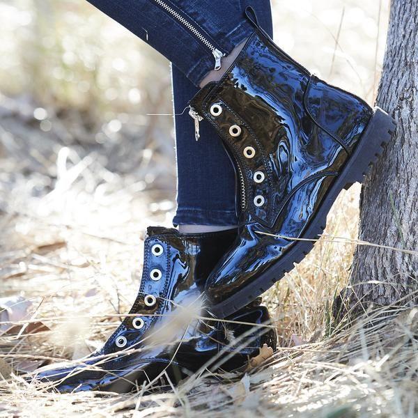 zip ballet biker boot - black