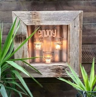 How luminous and devine is this?  Recycled timber frame with 3 Tea-light candle holders create this devine piece.  I love it. Frame measures 50cm x…