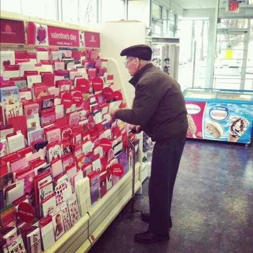 """So today I was in Hallmark buying my mom a Happy Birthday card when I noticed this old man stnding in front of the Valentines card section contemplating which one to get. I decide to go over and I ask him ""Are you getting a Valentine's Day for your wife?"" in which he replies 'No my wife died 3 years ago from breast cancer but I still buy her roses and a card and bring them to her grave to prove to her that she was the only one that will ever have my heart' """