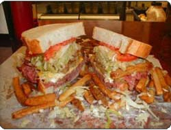 Lucky's sandwich shop in Chicago.  Man vs. Food was here...Luke and I shared one sandwich, no food challenge for us.  It was so yummy & only $7.50 for each sandwich!