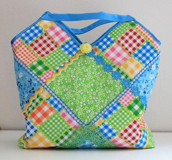 Bright colorful bag handmade fabric pieces. Lightweight от ThaiBee