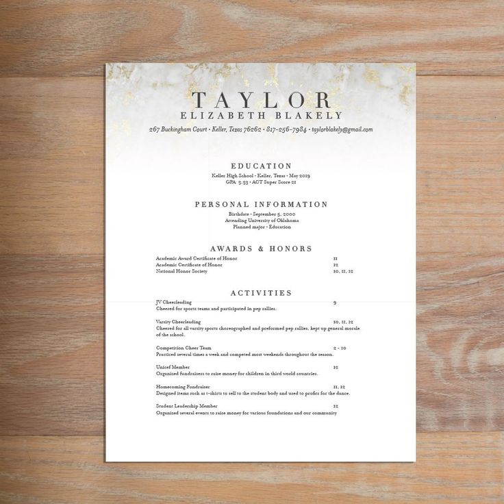 hot to make a resume%0A Golden Marble sorority resume     This chic social resume for sorority  recruitment features clean