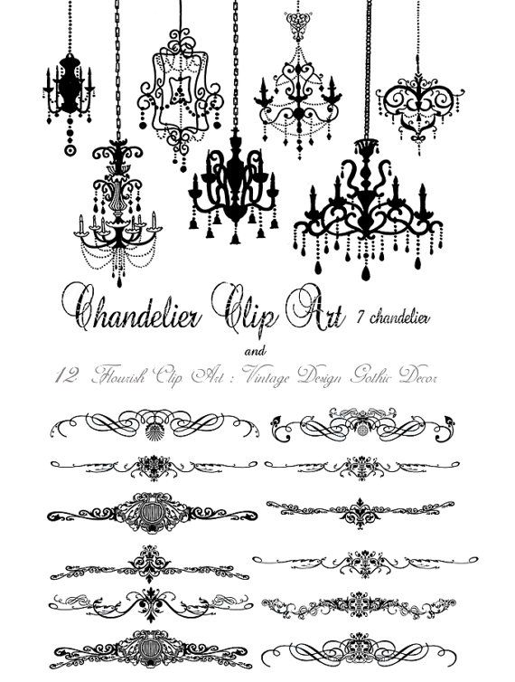 Sale Digital Clipart 12 Flourish ClipArt Vintage Design Victorian Gothic Decor and 7chandelier for wedding invitation