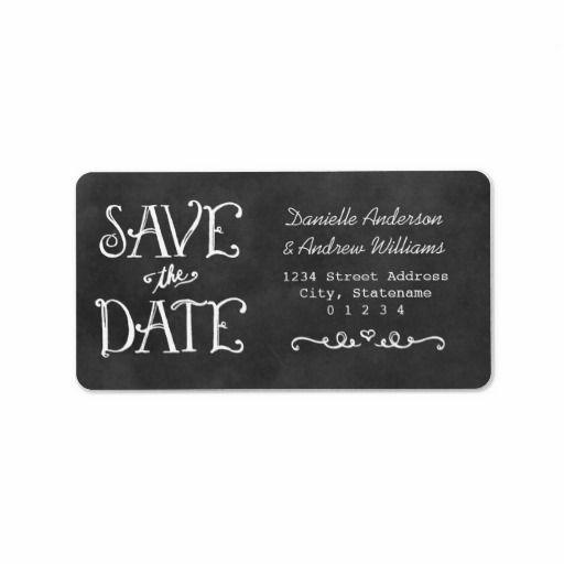 Return Address Labels | Black Chalkboard Save Date