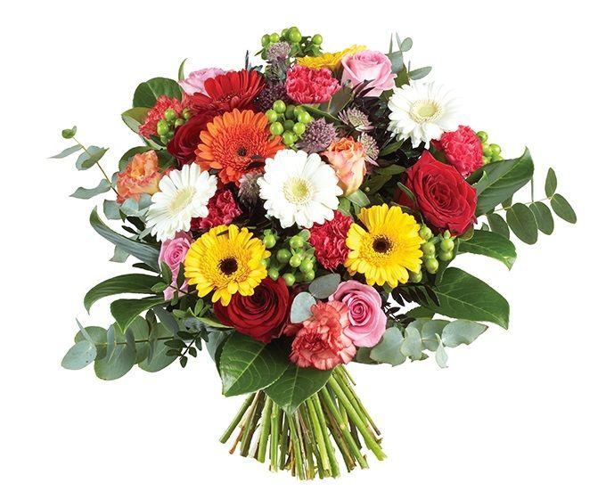 Bloemen van DEEN worden gratis thuis bezorgd, komen dagelijks vers van de veiling en worden met de hand gebonden door professionele bloemisten. Zeker 1 week vaasgarantie! Dit boeket bevat: •Gerbera mini geel •Gerbera mini oranje •Gerbera mini roze •Roos roze •Roos rood •Roos geel •Anjer oranje •Anjer groen •Anjer donker roze •Bouvardia •Asparagus