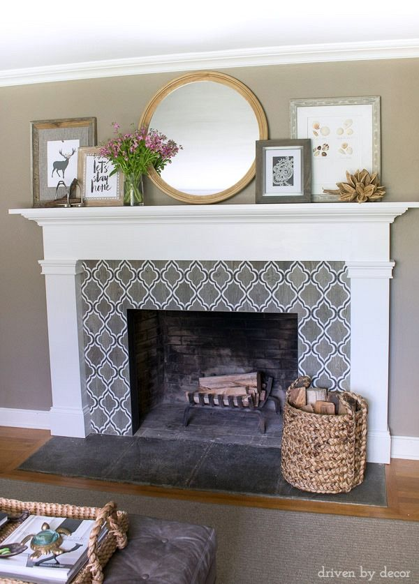 Fireplace With Geometric Tile Surround, Round Mirror, And Layered Art (full  Source List