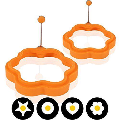 Amazy Silikon Spiegeleiform (2er Set) - Die lustige Fr�hst�cksidee bringt Ihre Spiegeleier und Pfannkuchen in die perfekte Form (Blume)