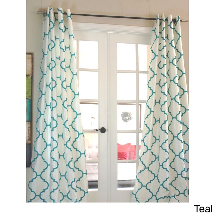 Lambrequin Morocco Flocked Faux Silk Grommet-top 96-inch Curtain Panel (White/