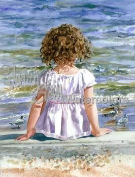 Bird Watcher is an Open Edition Giclee Art Print from a watercolor painting featuring a little girl watching seagulls gathering food along the