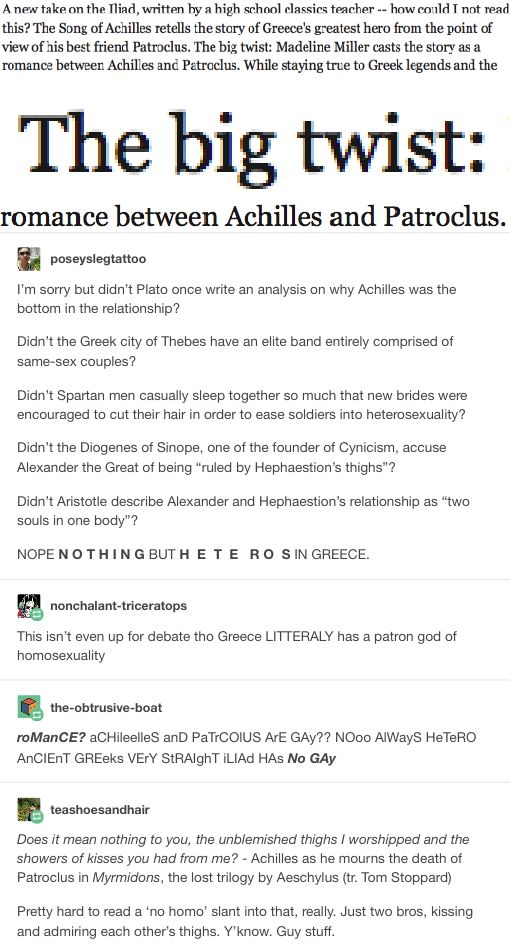"""Love this, but it needs to be noted that Achilles at least was bi/pan/poly. He did have female lovers; I wish people would stop """"HE/SHE GAY"""" like bi/pan/poly don't fecking exist"""