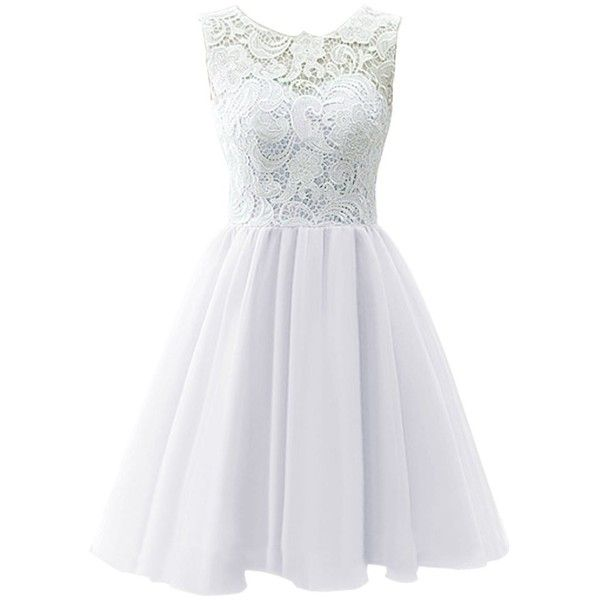 Dresstells Short Tulle Prom Dress Bridesmaid Homecoming Gown with Lace (135 CAD) ❤ liked on Polyvore featuring dresses, vestidos, short dresses, white, prom dresses, lace cocktail dress, lace dress and lace prom dresses