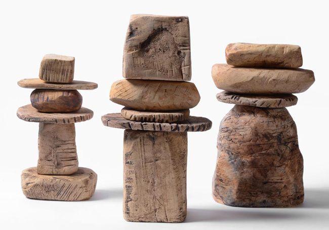 Renee Iacone,  Stacks 102, 104, 103 stoneware 2013