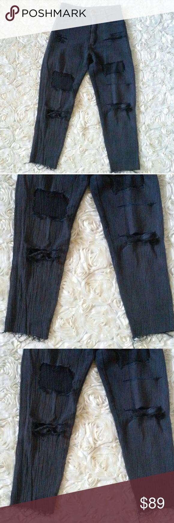 """coolest 80s KELIN rock hipster black ripped jeans This pair of jeans is literally the definition of the modern trendy raw hem ripped rocker hipster denim and it's vintage! Made by Kelin, are a perfect faded black with a ruddy texture throughout and a high waist. Good pre-owned condition. Labeled size 7/8 but definitely an XS to small. 34"""" long, 25"""" inseam, 11"""" waist drop, 27.5"""" around waist band. Cotton rayon polyester spandex blend. Kelin Jeans Ankle & Cropped"""