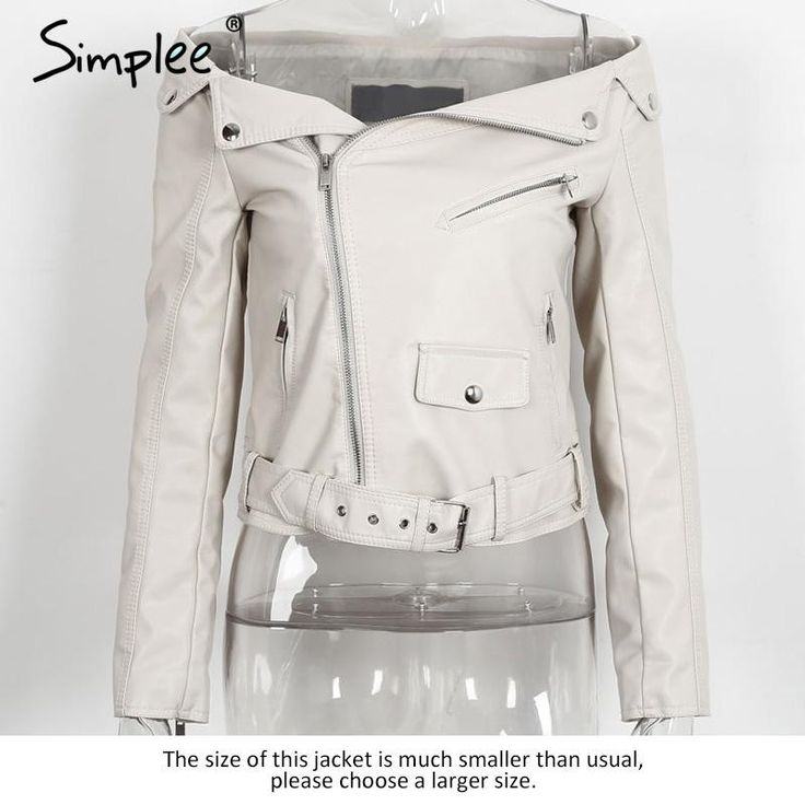 Simplee Off Shoulder Faux Leather Motorcycle Jacket