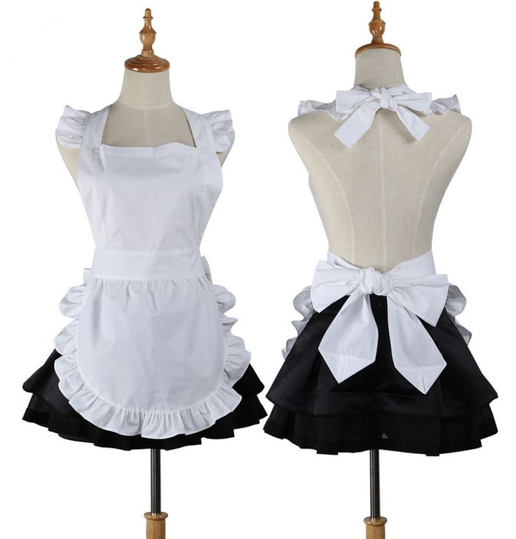 Ladies Vintage Waitress-Style White Cotton Ruffle Pinafore Short Apron One Size