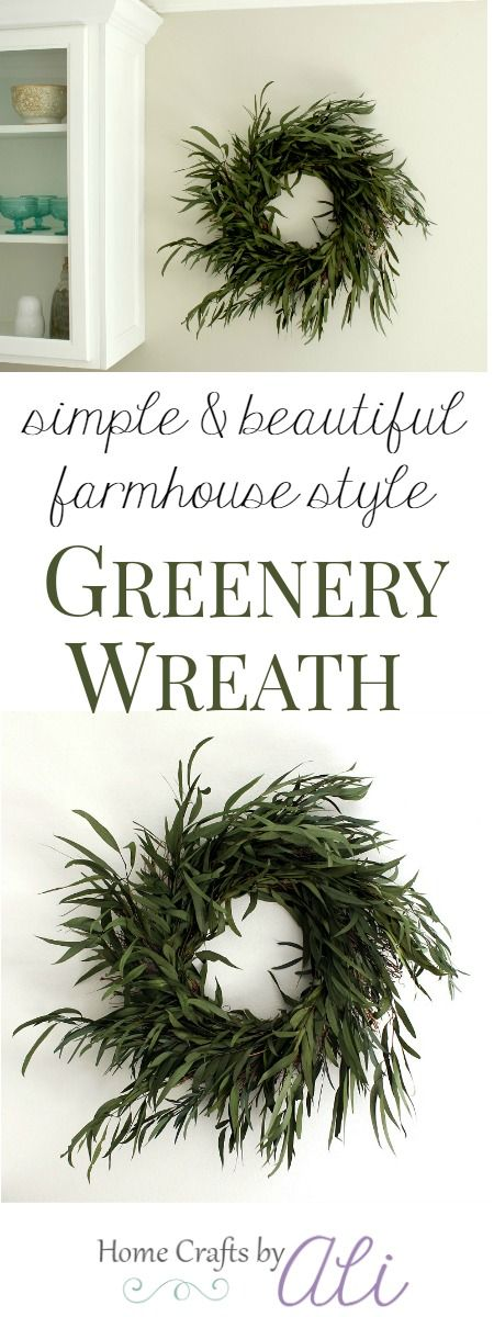 Simple & Beautiful Farmhouse Style Greenery Wreath - Use just a few supplies to make this greenery wreath that any Fixer Upper fan will love