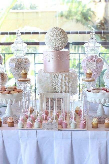 #elegant #desserttable #cake #macaroons #candy #cakepops