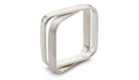 Handmade 9ct white gold double square men's ring