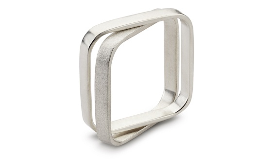 Handmade 9ct white gold double square men's ring