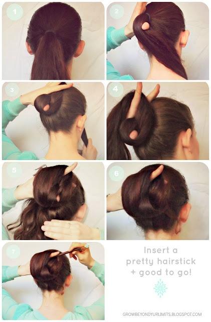 easy hair stick bun -Flechtwerk -  The Chameleon Bun  www.growbeyondyourlimits.blogspot.com