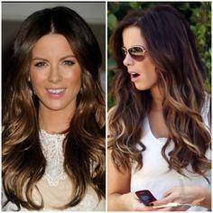 kate beckinsale balayage hair | Kate Beckinsale brunette and caramel highlights in layered hair