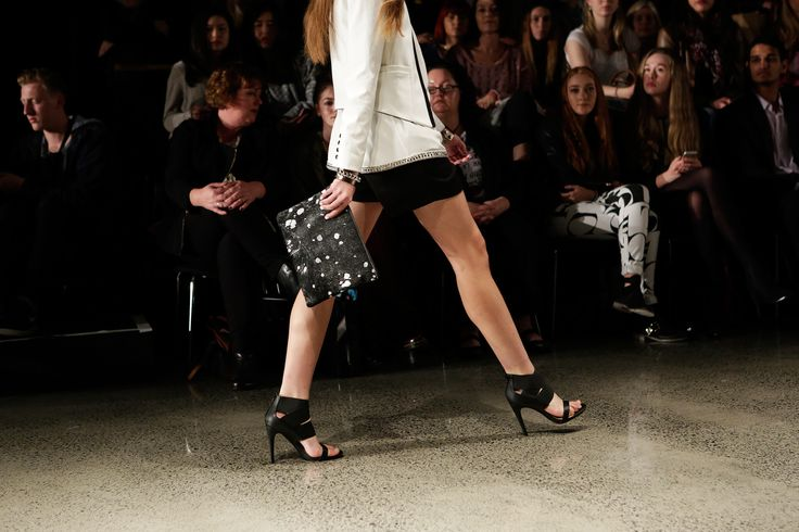 Mooi Jem clutch in black+silver at Storm clothing NZFW