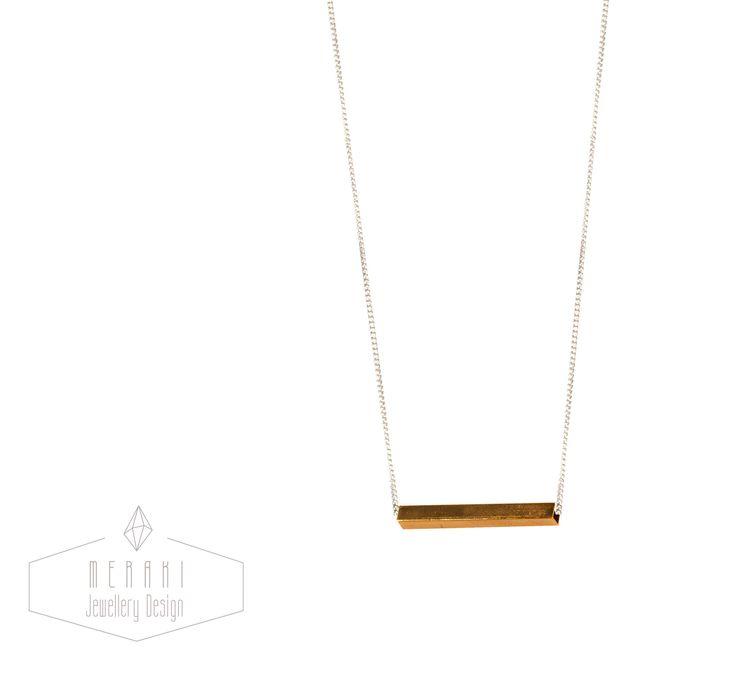 Brass bar necklace www.merakijewellerydesign.com