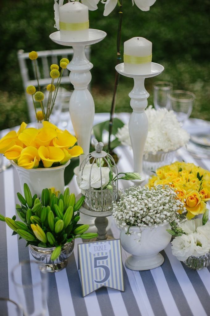 Yellow and grey table decor inspiration. Decor,flowers and styling by Decor Mechanics Photography by Alexander Smith Photography