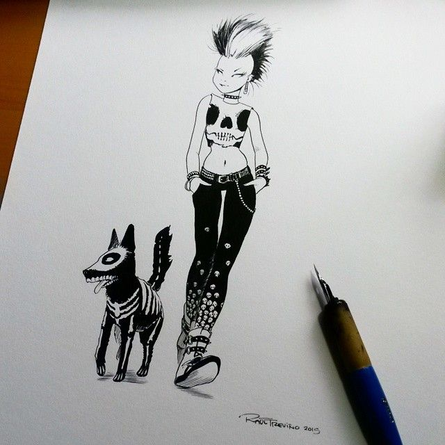 """""""nother character for INK&Punky, a book that I'm working on which will be included among other character designs"""". By Raúl Treviño"""