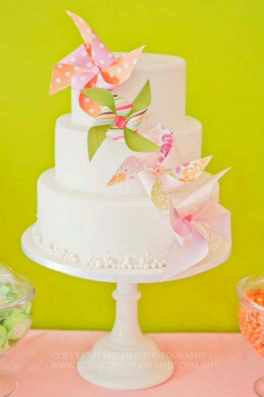 Pinwheels on skewers- love the simple cake with the pin wheel cascade